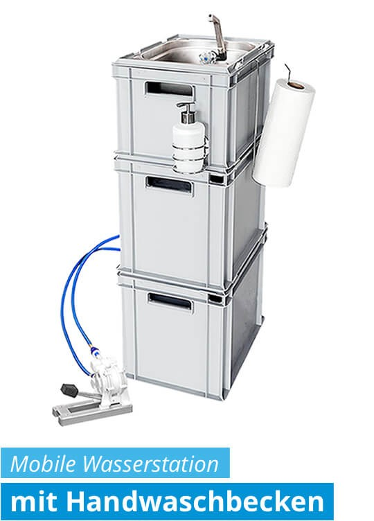Mobiles Handwaschbecken mit Fußpumpe - mobile Wasseranlage / Frischwasserstation