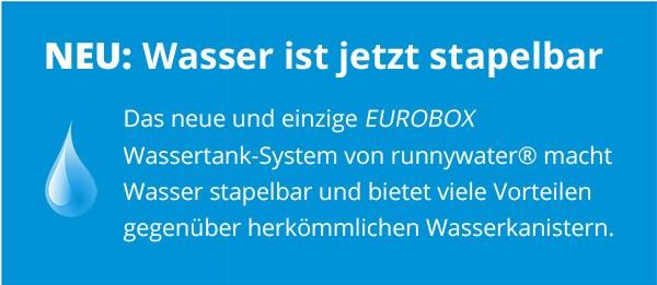 Wir machen Wasser stapelbar - Eurobox Kanister - BG dunkelblau