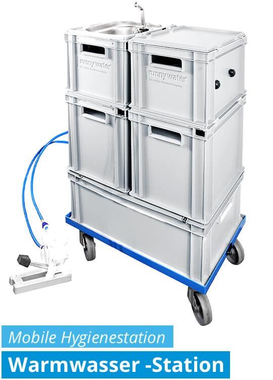 Hygienestation - mobile Warmwasser-Station mit Fußpumpe manuell - autarke Wasserversorgung