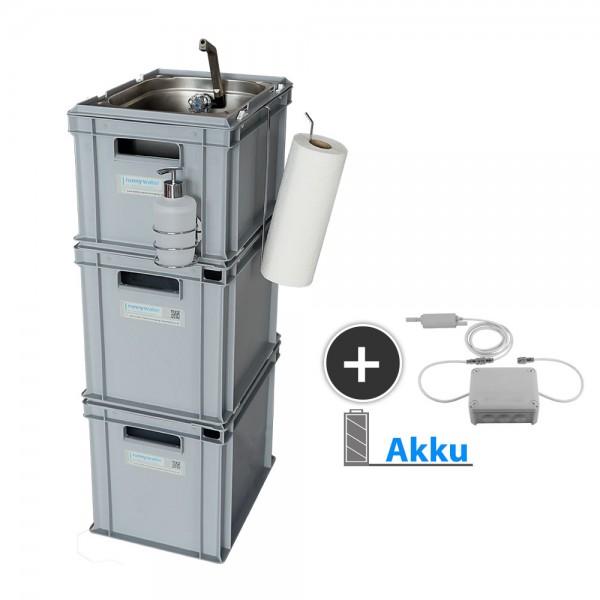 mobile Wasserversorgung mit akku betriebender Pumpe und Zubehör