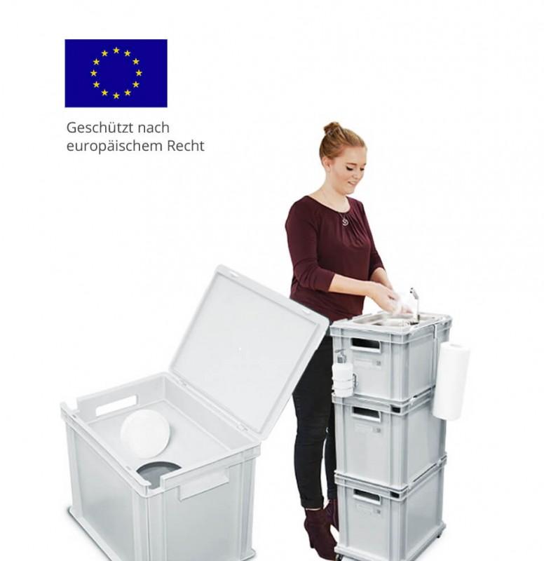 Anwendungsbeispiel - runnywater® Handwaschbecken - Mobile Wasserversorgung Wasserstation mit Eurobox Wasserkanister