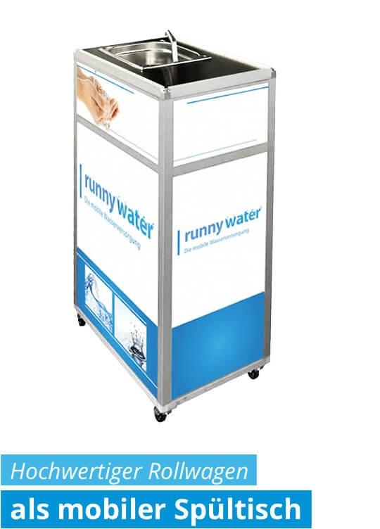 Mobiler Spültisch - mobile Wasserstation mit Waschbecken - Rollwagen für Gastronomie, Hotel, Event, Party