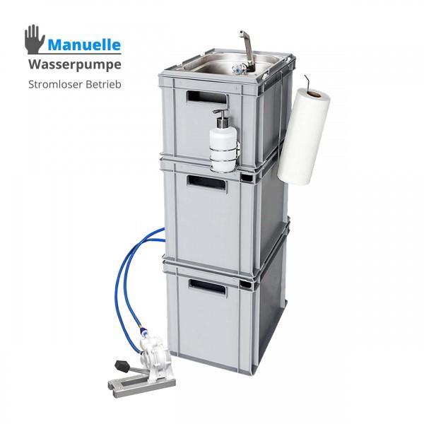 Mobiles Handwaschbecken kaufen - Hygienestation manuelle Fußpumpe - 20 L + 3 Liter extra Volumen Wassertank - Mobiles Handwaschbecken kaufen - Wasserpumpe manuelle Fußpumpe - 20 L + 3 Liter extra Volumen Wassertank - mit Seifenspender und Tuchhalter